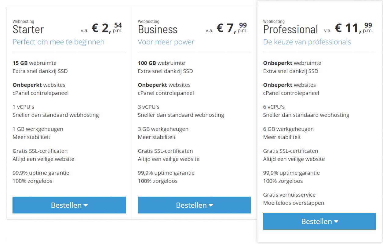 Neostrada WordPress webhosting pakketten, webhosting nederland, wordpress hosting