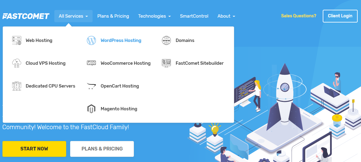 fastcomet wordpress webhosting, website maken wordpress