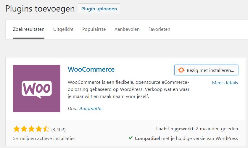 woocommerce plugin installeren, wordpress webshop maken